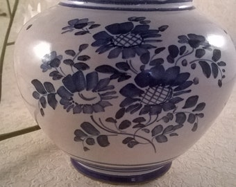 Kugelvase with blue painting.