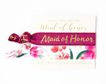 Will You Be My Maid of Honor & Bridesmaid Hair Tie Gift | Wine + Gold Bridesmaid Proposal Gift, Wedding Party Gift, Burgundy Maroon Blush