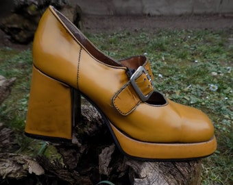 Miss Well - Retro Yellow 70s Shoes EU38