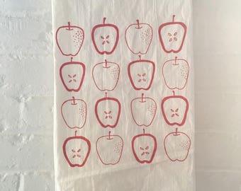 Apple Tea Towel, Screen Printed Flour Sack Towel