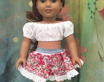 American Girl Crop Top and Mini Skirt Set