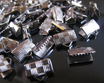 Finding - 20 pcs Silver Plated Tone Clamp Fold Over End Crimps  ( 10mm or 3/8 inch )