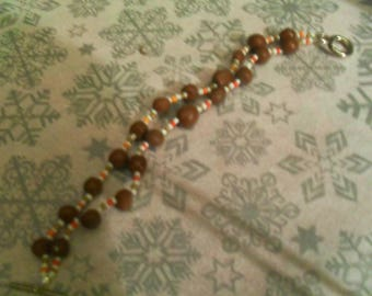 pretty bracelet made of polymer clay Brown