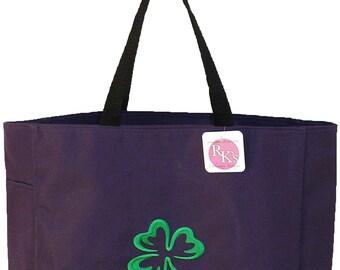 Shamrock Monogram St. Patrick's Day Irish Bag Purple READY TO SHIP! Custom Embroidered Essential Tote