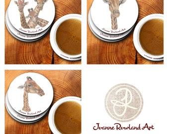 Giraffe Coaster Set of 3, South African Wildlife Gift, Wildlife Coaster Set, Kitchen Art, Homewares