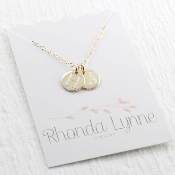 Solid Gold Initial Pendant Necklace Engraved Gold Initial