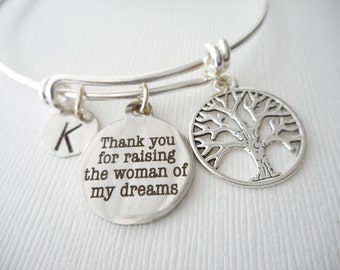 Thank You for Raising the Woman of My Dreams, Tree- Initial Bangle/ future mother in law, mother of bride gift, gifts from groom