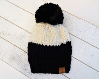 Colour Block Knit Pom Toque, Knit Hat, Baby, Child, Adult