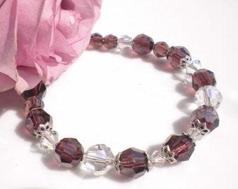 Swarovski Crystal Bracelet Bordeaux  Silk Crystals Silver Beadcaps