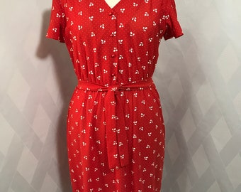 Vintage 1970s/80s Red and V Neck Leaf Print Dress with Petal Sleeves Plus Size