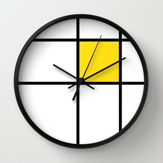 Murale horloge grande horloge murale horloge murale jaune horloge murale horloges murales uniques horloge murale rétro impression de mondrian
