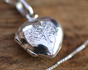 Sterling Silver Tree Of Life Heart Locket Necklace, Tree of Life Necklace, Sterling Silver Heart Locket, Anniversary Gift, Gift for Her