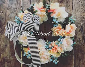 "Spring Summer Peony Wreath, Floral Wreath 22""+, Bird Wreath, Peonies, Peach Pink Peony Wreath"