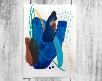 Original Mixed-Media Abstract Painting on Paper A4