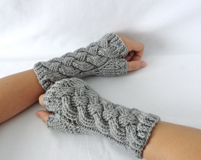 "Gray Cable Knit Merino Fingerless Gloves ""Knotted Up"""