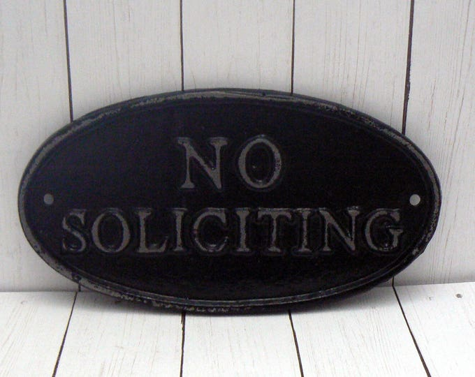 No Soliciting Cast Iron Sign Shabby Chic Black Wall Door Home Office Decor