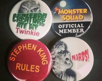 """1.5"""" Buttons OR Magnets-Monster Squad Inspired, set of 4"""