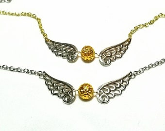 Golden snitch inspired necklace
