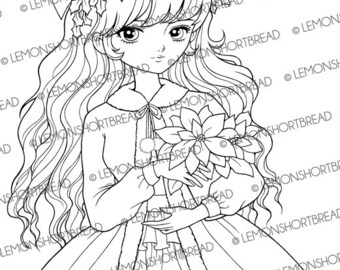 Digital Stamp Christmas Poinsettia Girl, Digi Download Winter, Merry Xmas, Coloring Page, Clip Art Card Scrapbooking Supplies