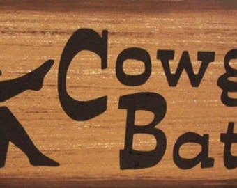 Cowgirl Bath Western Primitive Rustic Distressed Country Wood Sign Home Decor