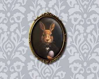Easter Bunny Brooch, Rabbit Brooch, Rabbit Pin,  March Hare, Oval Pin - Victorian Rabbit, Rabbit Lover Gift, Animal, Anthropomorphic