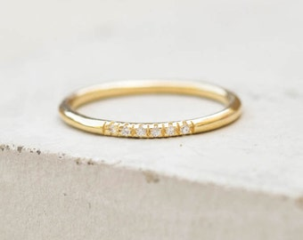 Petite, Dainty Ultra thin Stacking Ring with 6 mini micro pave CZ Stones - GOLD - quarter eternity band, stacker ring