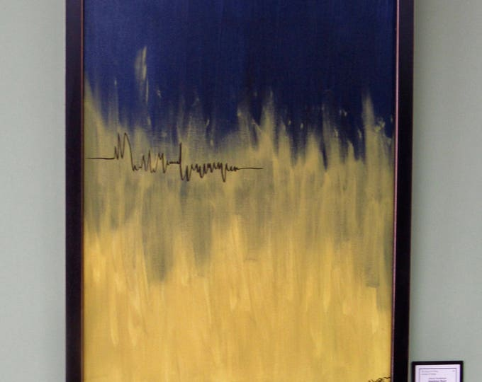 """Framed Abstract Painting """"Sparking Heart"""""""
