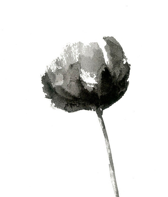 Black and white peony print from original watercolor flower