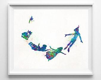 Peter Pan, Print, Disney Art, Watercolor Art, Peter Pan Art, Disney Poster, Peter Pan Decor, Gift Idea, Disney Gift, Type 2, Halloween Decor