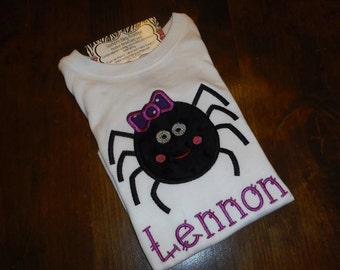 Girl Spider Halloween Embroidery Shirt