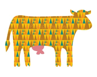 Standing Cow applique template | PDF applique pattern | applique template