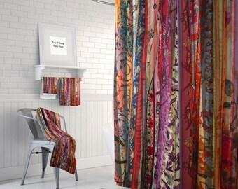 Boho Chic  Shower Curtain Optional Bath  Mat Bathroom Set Gypsy Spirit