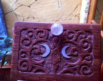 Moon Goddess Box For Tarot Cards, Healing Crystals, Jewelry, Amethyst Angel Aura Sphere