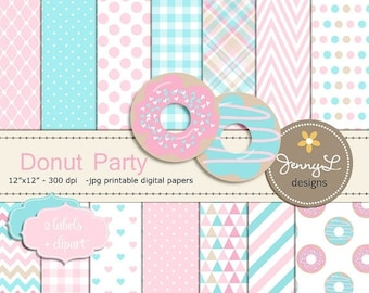 50% OFF Donut Digital Papers and Clipart, Girl Doughnut Birthday Party, Digital Scrapbooking Paper, Dessert, Pink and Aqua, Turquoise, Chevr