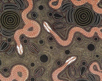 Australian Fabric, Aboriginal Fabric, W. Evans Fabric -  Snake & Emu - Charcoal - Priced by the half yard
