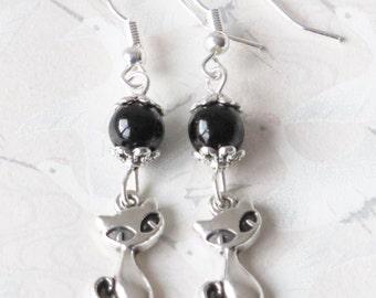 Cat earrings, cat jewelry, earrings silvery cat, kitten jewelry, little cat, with a pet jewelry, earrings children, gift for her