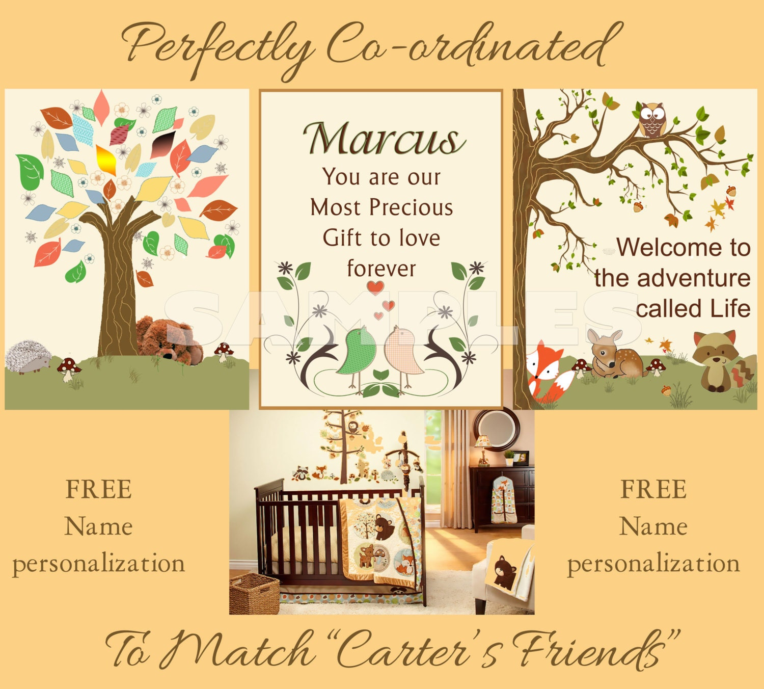 Carter Friends Nursery Prints PERSONALIZED for FREE wall art décor ...