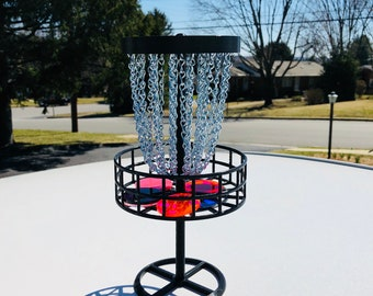 Miniature (Mini) Disc Golf Basket with 6 Discs, Table Top Game, Makes a Great Trophy