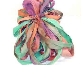 10YD. EXOTIC ORCHID Sari Silk Ribbon Bundle//Dyed Silk Sari Ribbon Bundle//Sari Tassels,Sari Wall Decor,Sari Fiber Jewelry,Sari Tapestry