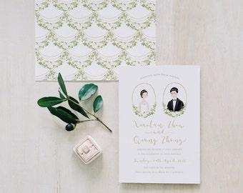 Wedding Invitation Handmade Personalized Illustration Portrait