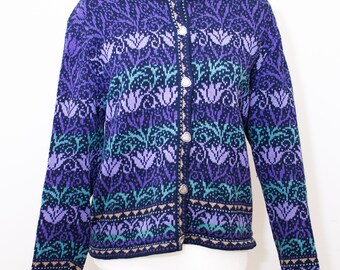 Vintage Beautiful Blue, Purple and Green Tulip design Cotton Blend Cardigan sweater with Metal Stamped Heart Buttons