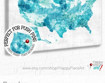 Aqua, Mint Green, Turquoise USA map, Download or Print  Watercolor USA map. US Travel map, Push Pin Map for Family Travels, Road Trip Map
