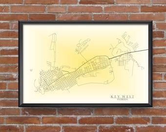 Key West, Florida Map Art