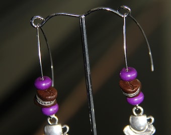 Real Coffee Beans Ear Rings with Purple Howlite Beads