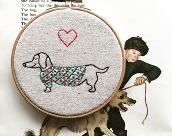 hand embroidery kit | hand embroidery | valentine gift | valentine embroidery | DIY embroidery kit | oscar wild sweaters | weiner dog kit