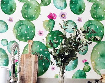 Watercolor Cactus with flowers Wallpaper, Removable Wallpaper, Self-adhesive Wallpaper, Floral Wall Décor, Flower Wallcovering - JW098B