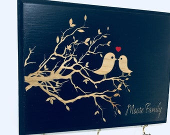 Personalized Key Holder (Engraved Lovebirds)- Great Gift Idea for Wedding, Engagement Gift. Personalized Wedding Gift for Couples