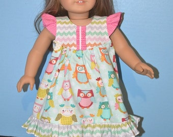 American Made Butterfly Flutter Sleeve Dress for 18 Inch Girl Doll-Whimsical Pastel Owl Print with Coordinating Bodice and Trim-Fun Set!