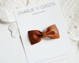 "Baby / Girls Leather Bow Headband, Leather Hair Bow Clip, Genuine Leather Baby Bows, Baby Hair Clip, Baby Leather Bow ""butterscotch"""