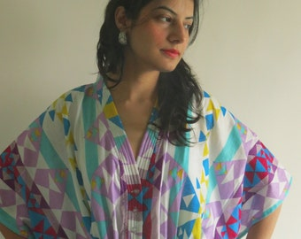 Tiny Triangles Geometric White Purple Nursing Maternity Hosptial Gown Delivery Kaftan loungewear, getting ready, gift for moms n to be moms